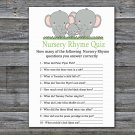 Elephant Nursery Rhyme Quiz baby shower game,Elephant Baby Shower Game -300