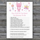 Rabbit How Well Do You Know Mommy Baby Shower Game,Rabbit  Baby Shower Game -313