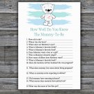 Polar bear How Well Do You Know Mommy Baby Shower Game, bear  Baby Shower Game -312