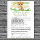 Tiger How Well Do You Know Mommy Baby Shower Game, Safari Baby Shower Game -311