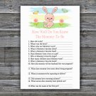 Rabbit How Well Do You Know Mommy Baby Shower Game, bunny Baby Shower Game -310