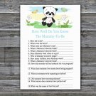 Panda How Well Do You Know Mommy Baby Shower Game,Panda Baby Shower Game -309