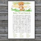 Tiger Baby Shower Word Search Game,Safari Baby Shower Word Search Game Printable -311