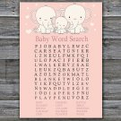 Elephant Baby Shower Word Search Game,Safari Baby Shower Word Search Game Printable -306