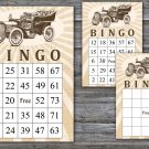 Vintage car Bingo cards,Vintage bingo,60 Printable bingo cards---104