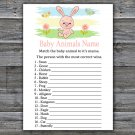 Rabbit Baby Animal Names Game,Pink rabbit Baby Shower Game,Baby Shower Game Printable -310