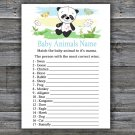 Panda Baby Animal Names Game,Panda Baby Shower Game,Baby Shower Game Printable -309