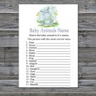 Hippo Baby Animal Names Game,Hippo Baby Shower Game,Baby Shower Game Printable -304