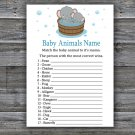 Elephant Baby Animal Names Game,Safari Baby Shower Game,Baby Shower Game Printable -303