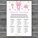 Rabbit what's in your purse games,Pink rabbit Baby Shower Game,Baby Shower Game Printable -313