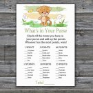 Tiger what's in your purse games,Safari Baby Shower Game,Baby Shower Game Printable -311