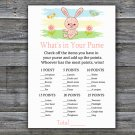 Rabbit what's in your purse games,bunny Baby Shower Game,Baby Shower Game Printable -310