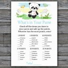 Panda what's in your purse games,Panda Baby Shower Game,Baby Shower Game Printable -309