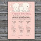 Elephant what's in your purse games,Safari Baby Shower Game,Baby Shower Game Printable -306
