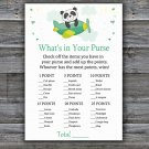 Panda what's in your purse games,Jungle Baby Shower Game,Baby Shower Game Printable -301