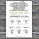 Elephant what's in your purse games,Elephant Baby Shower Game,Baby Shower Game Printable -300