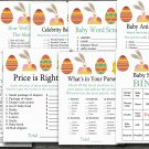 Easter rabbit baby shower games package,easter bunny baby shower games pack,9 Printable games--135