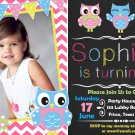 Owl birthday invitation,Owl birthday invite,Owl thank you card FREE--001