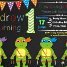 Ninja turtles birthday invitation,Ninja turtles invite,Ninja turtles thank you card FREE--003