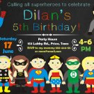Superheroes birthday invitation,Superheroes birthday invite,Superheroes thank you card FREE--005