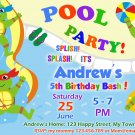Ninja turtles pool party invitation,Ninja turtles invite,Ninja turtles thank you card FREE--012