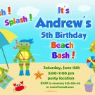 Ninja turtles pool party invitation,Ninja turtles invite,Ninja turtles thank you card FREE--013