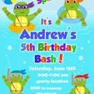Ninja turtles pool party invitation,Ninja turtles invite,Ninja turtles thank you card FREE--014