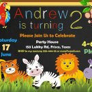 Safari animals birthday invitation,Safari animals invite,Safari animals thank you card FREE--023