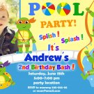 Ninja turtles pool party invitation,Ninja turtles invite,Ninja turtles thank you card FREE--025