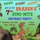 Dinosaur birthay invitation,Dinosaur birthay invite,Dinosaur thank you card FREE--029