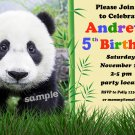 Panda birthday invitation,Jungle birthday invite,Panda thank you card FREE--081