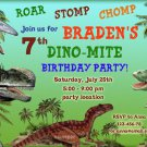 Dinosaur birthay invitation,Dinosaur birthay invite,Dinosaur thank you card FREE--086