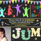 Jump birthay invitation,Trampoline birthay invite,Jump thank you card FREE--091