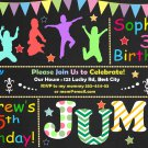 Jump birthay invitation,Trampoline birthay invite,Jump thank you card FREE--092
