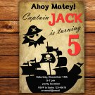 Pirate birthay invitation,Pirate birthay invite,Pirate thank you card FREE--098
