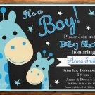 Blue Giraffe baby shower invitation,Safari baby shower invite,Giraffe printable invite--101