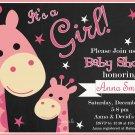 Rose Giraffe baby shower invitation,Safari baby shower invite,Giraffe printable invite--102
