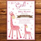 Rose Giraffe baby shower invitation,Rose Giraffe baby shower invite,Safari printable invite--103