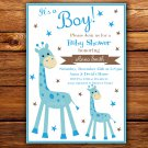 Blue Giraffe baby shower invitation,Blue Giraffe baby shower invite,Safari printable invite--104