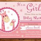 Rose Giraffe baby shower invitation,Rose Giraffe baby shower invite,Safari printable invite--105