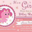 Pink Dinosaur baby shower invitation,Pink Dinosaur baby shower invite,Dinosaur printable invite--107