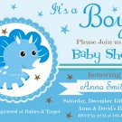Blue Dinosaur baby shower invitation,Blue Dinosaur baby shower invite,Dinosaur printable invite--108