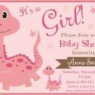 Rose Dinosaur baby shower invitation,Rose Dinosaur baby shower invite,Dinosaur printable invite--109