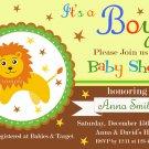 Lion baby shower invitation,Safari baby shower invite,Lion printable invite--113