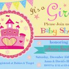 Pink Castle Princess Baby Shower Invitation,Princess baby shower invitation--118