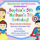 Superheroes and Princesses Birthday Invitation,Superheroes and Princesses thank you card FREE--122