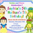 Ninja turtles and Princesses  Invitation,Ninja turtles and Princesses thank you card FREE-123