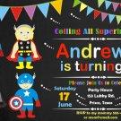 Superheroes birthday invitation,Superheroes birthday invite,Superheroes thank you card FREE--132