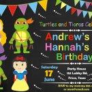 Ninja turtles and princess  invitation,princess birthday invite,princess thank you card FREE--133