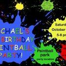 Paint splatter birthday  invitation,paint splatter invite,paint splatter thank you card FREE--134
